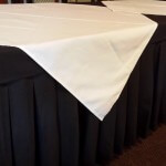 Bridal Table Skirt with square overlays.