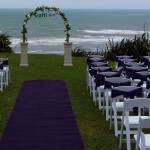 Purple aisle carpet for wedding ceremony