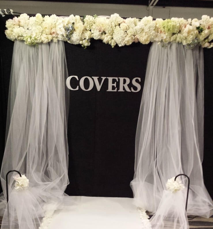 Covers decoration hire floral arch with tulle draping hire covers flower and tulle arch junglespirit Images