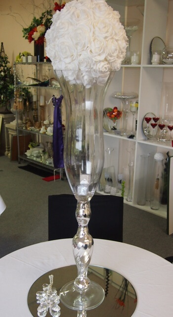 Covers Decoration Hire Silver Fluted Tall Vase Flower Arrangement Container
