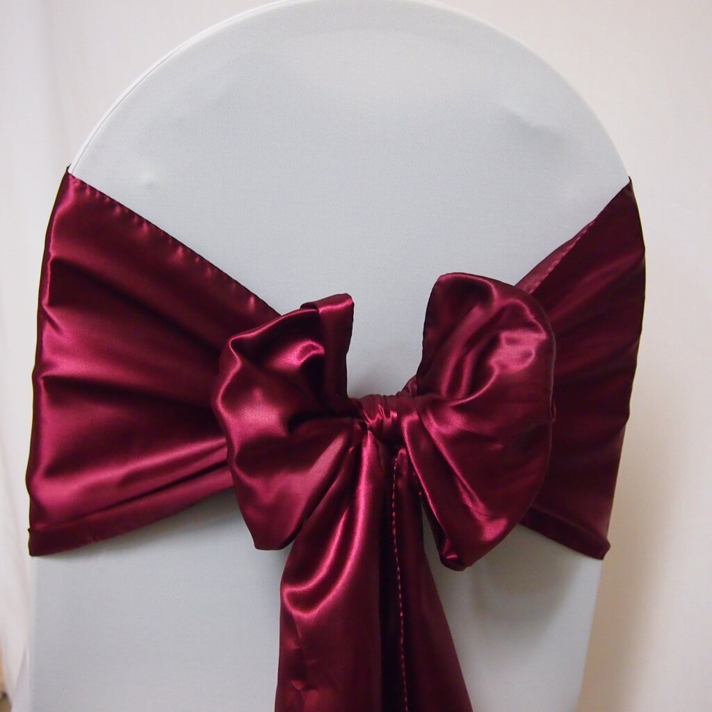 Covers Decoration Hire Sash Red Satin Burgandy Covers