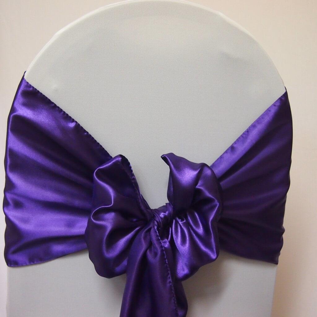 Covers Decoration Hire : Sash Purple Satin - Covers ...