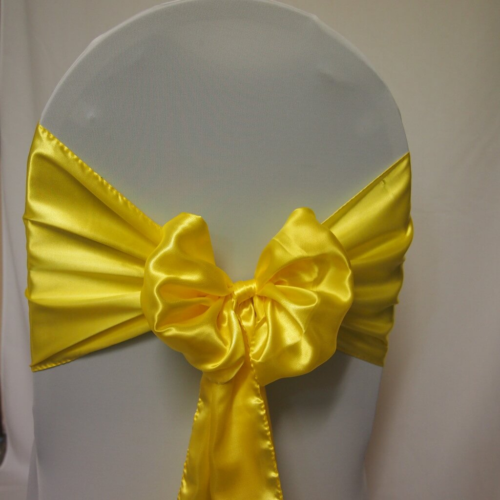 Covers Decoration Hire Sash Yellow Satin Covers