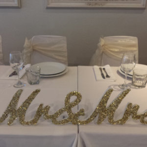 Mr and Mrs Gold Glitter Sign
