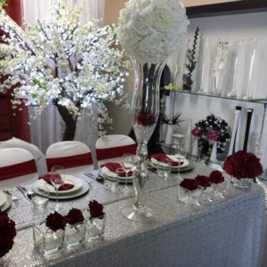 sequin silver table cover