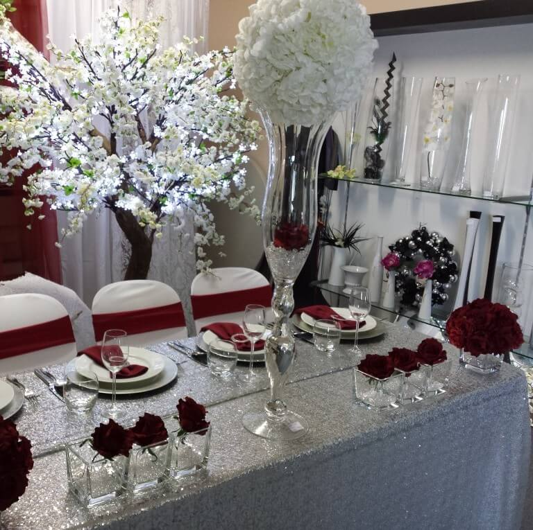 Covers Decoration Hire & Silver Sequin Table Cover