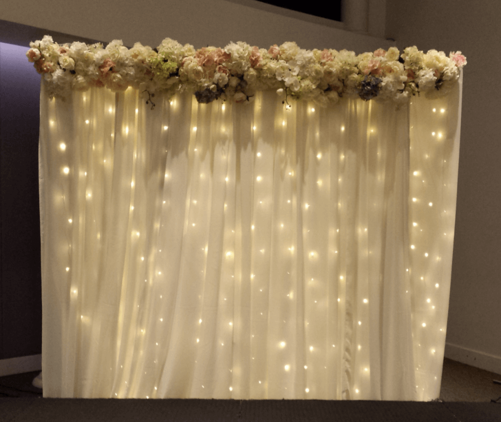 Covers decoration hire wedding event decoration design hire fairylight with floral header junglespirit Images