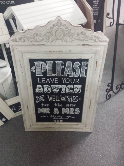Shabby Chic Rustic White Chalk Board