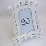 white table number frame