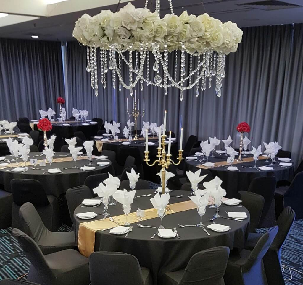 Covers decoration hire white floral chandelier wedding flowers white floral chandelier junglespirit Image collections