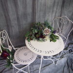 Cream Metal Table and Chairs