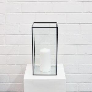 black frame box candleholder