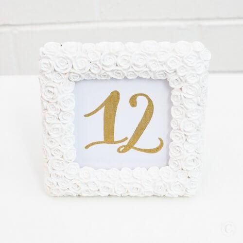 square rose table number frame
