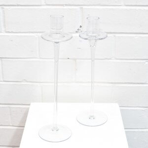 tall glass candlesticks