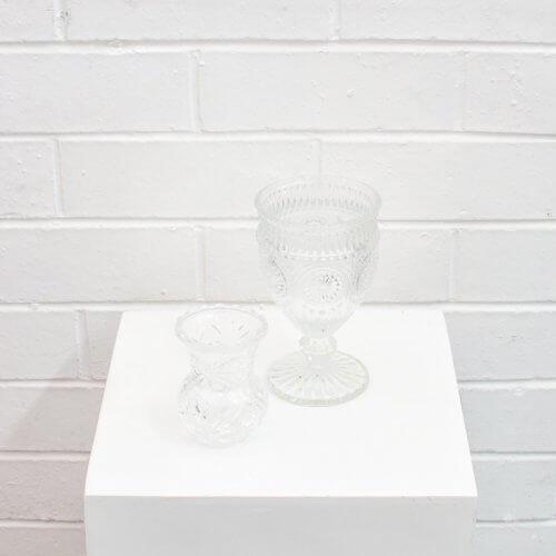 crystal bud vase and parisian goblet
