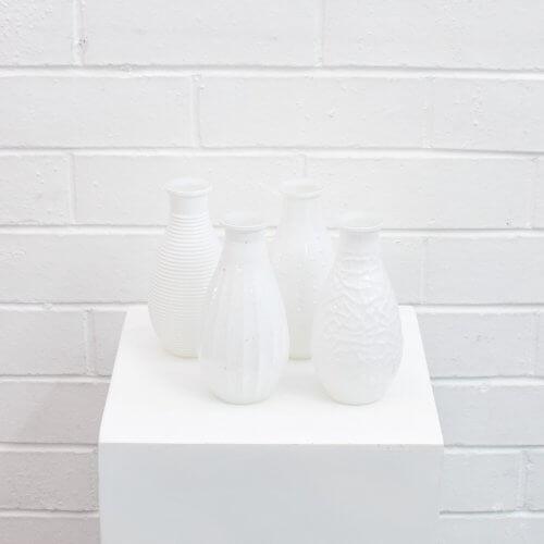 glass white bud vases
