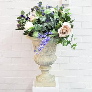 mauve, pink and cream floral arrangement for urn