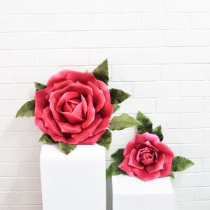 large large faux flowers in hot pink
