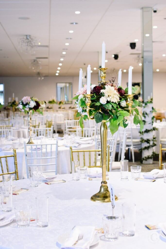 Gold 5 Arm Candelabra with florals