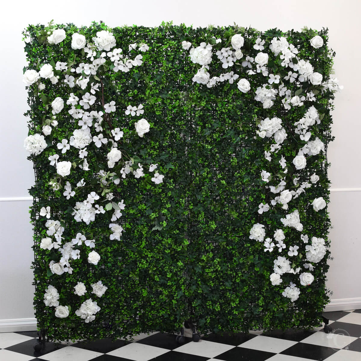 green wall white floral