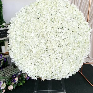 circle of hydrangea petals in white