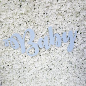 Wood cut out baby sign painted in a pale baby blue colour