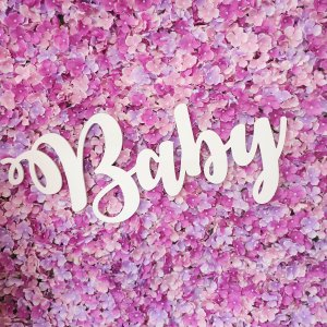 Pink painted wooden cut out baby sign.