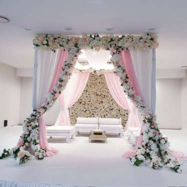 Temple Wedding Pink and White Floral Mandap